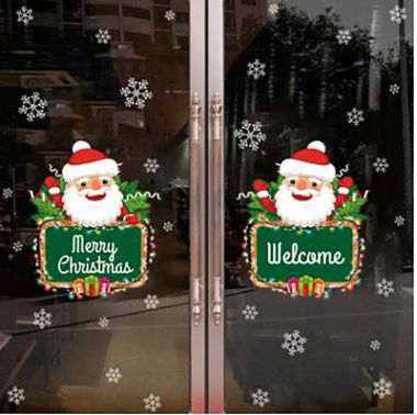 Decal trong dán kính noel Welcome Merry christmas